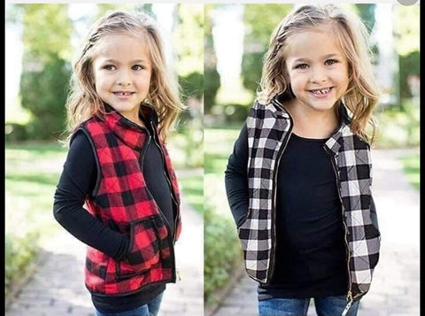 kids plaid vest- 2 colors