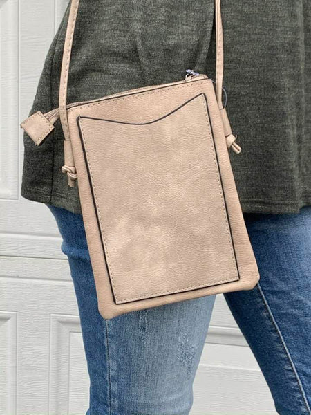 Teardrop burst crossbody bag in Taupe