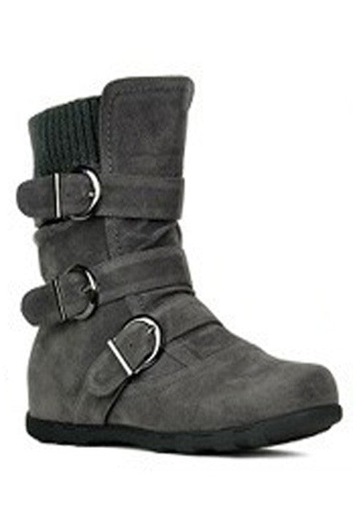 Midcalf Buckle Boots in Charcoal