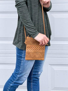Chevron Mini Crossbody bag in Camel