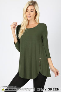 Missy Side Button Top in army green