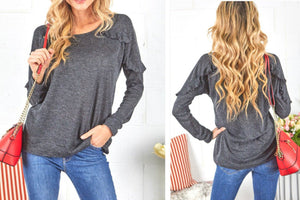 Regina Ruffle Top in Charcoal