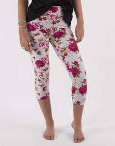 Buttery soft capri leggings- subtle floral