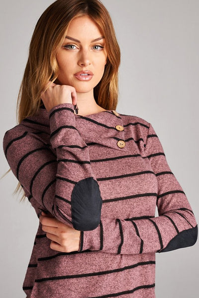 Mary Striped Button Tunic in- 2 colors