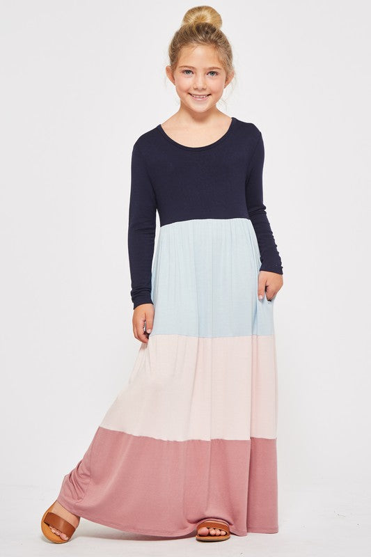 PREORDER kids striped maxi dress