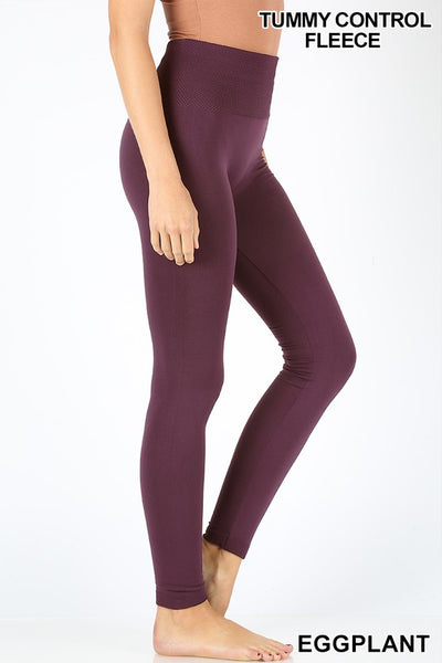 Tummy Control Fleece Leggings- 3 colors