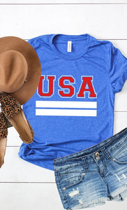 USA tee- royal blue