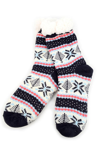 Women's slipper socks-fair isle
