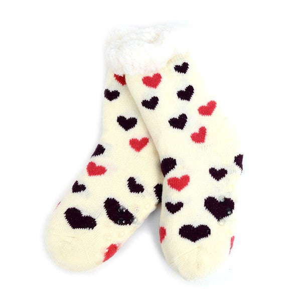 Girls Slipper Socks-hearts