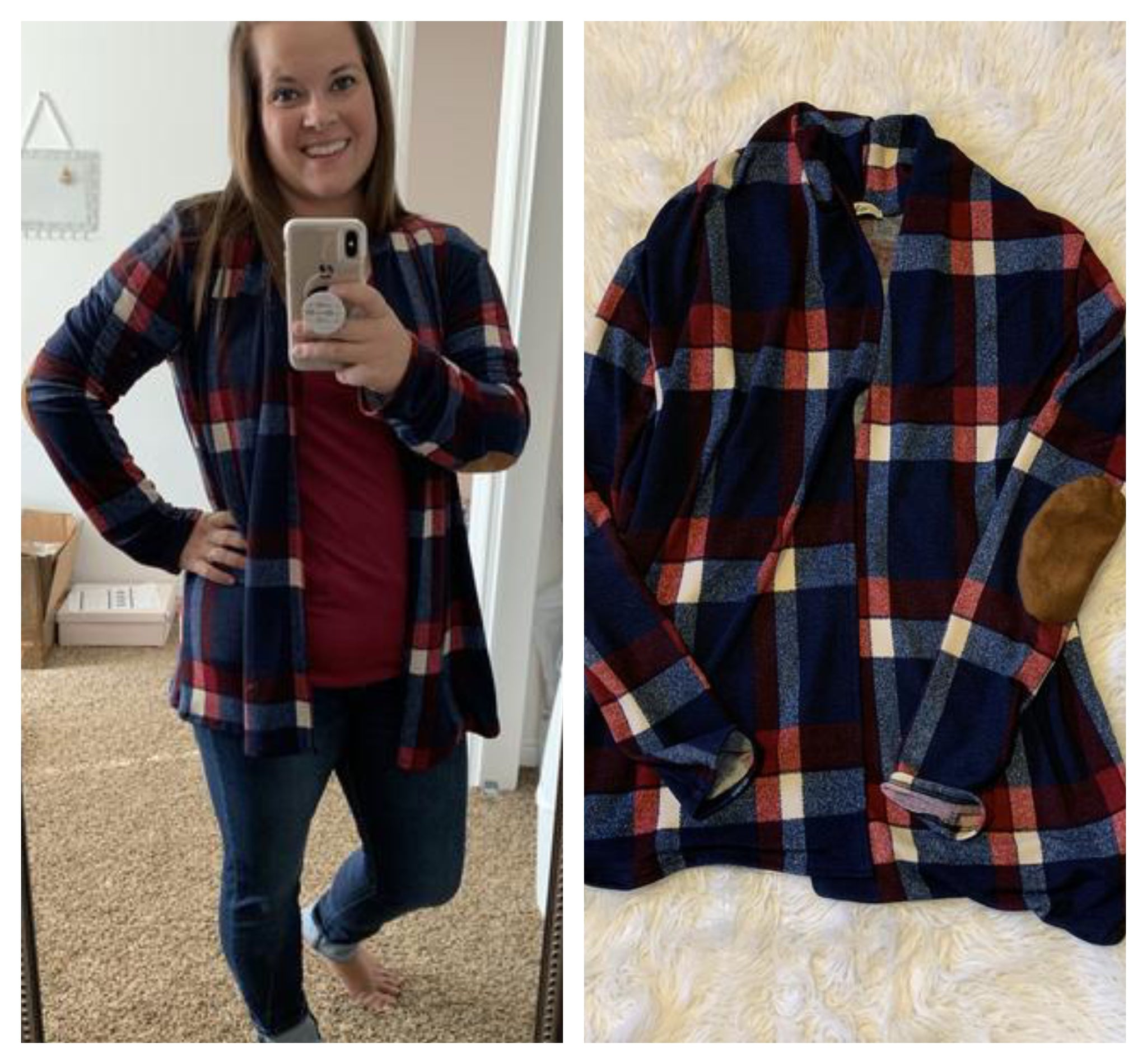 Plaid Elbow Patch Cardigan in Navy
