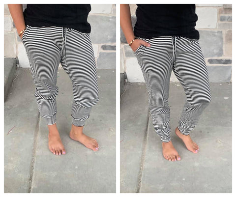 Black/white Striped joggers