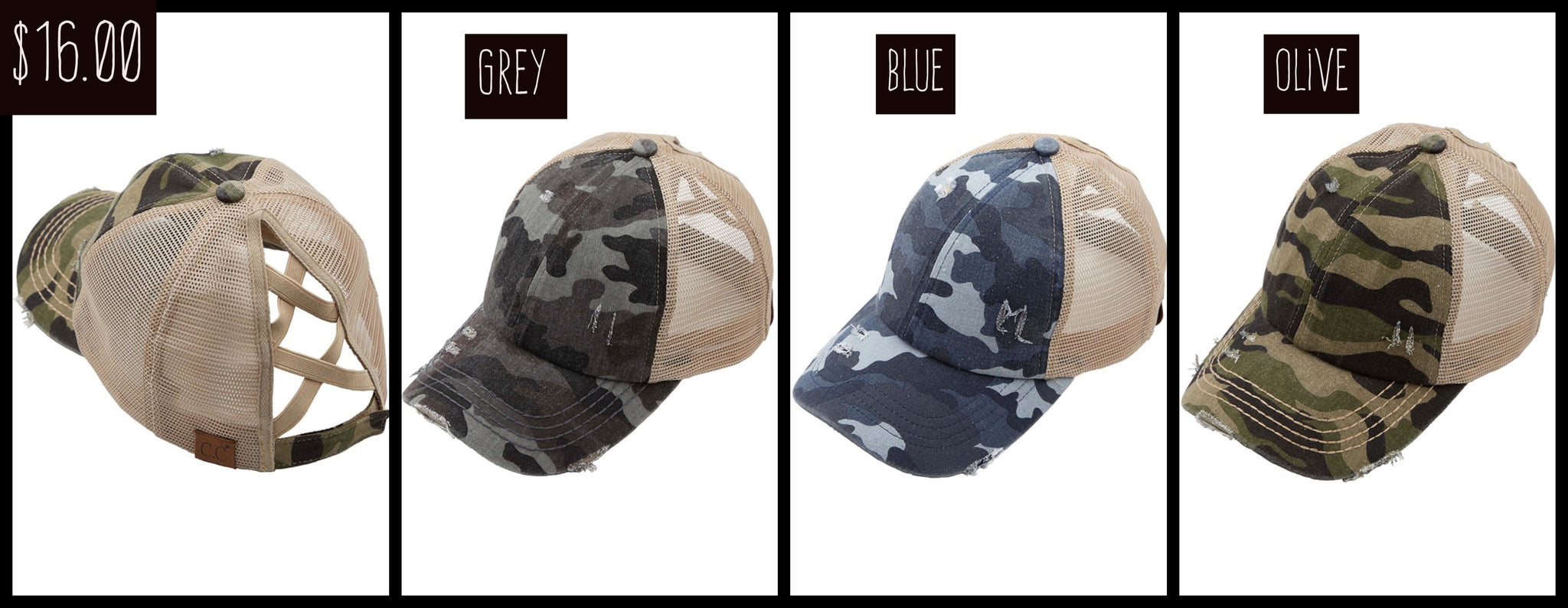 Camo Distressed Hats- 2020