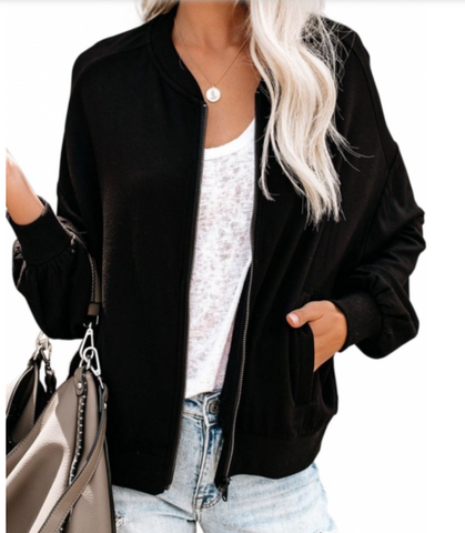 Marsha Bomber Jacket in Black