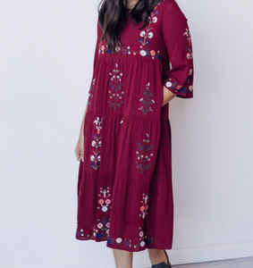 Zara Dress In Dark Wine