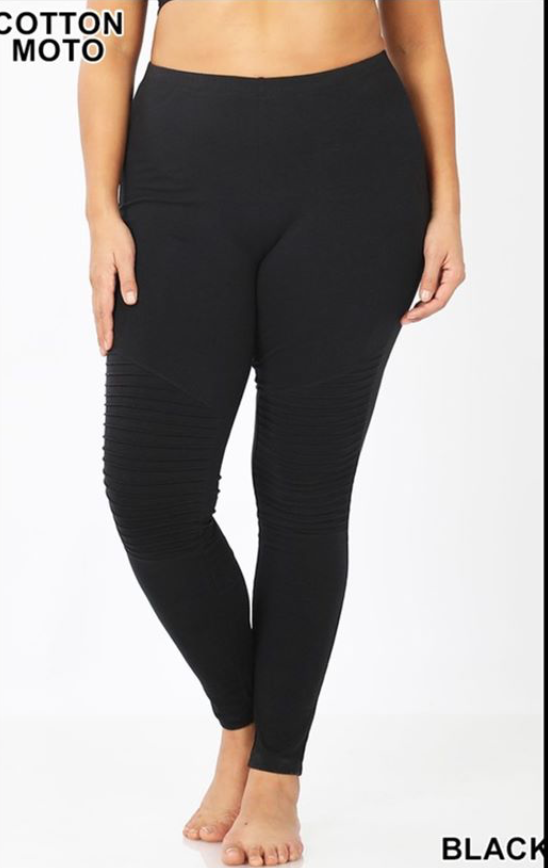 PLUS moto leggings in black