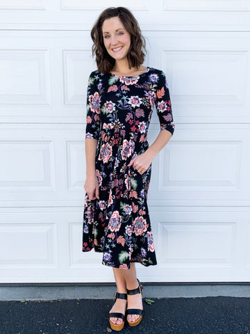 Laura floral dress in black