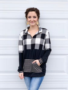 Checkered stripe pullover
