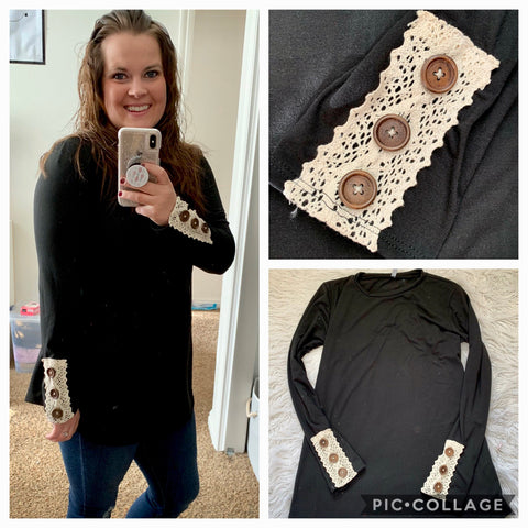 Lindsay lace button top in black