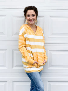 Quincy stripe hoodie in honey