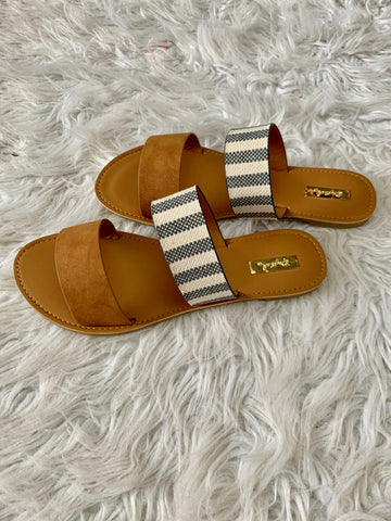 Shay double band denim striped sandals
