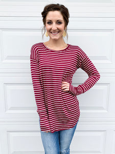 Basic stripes in burgandy