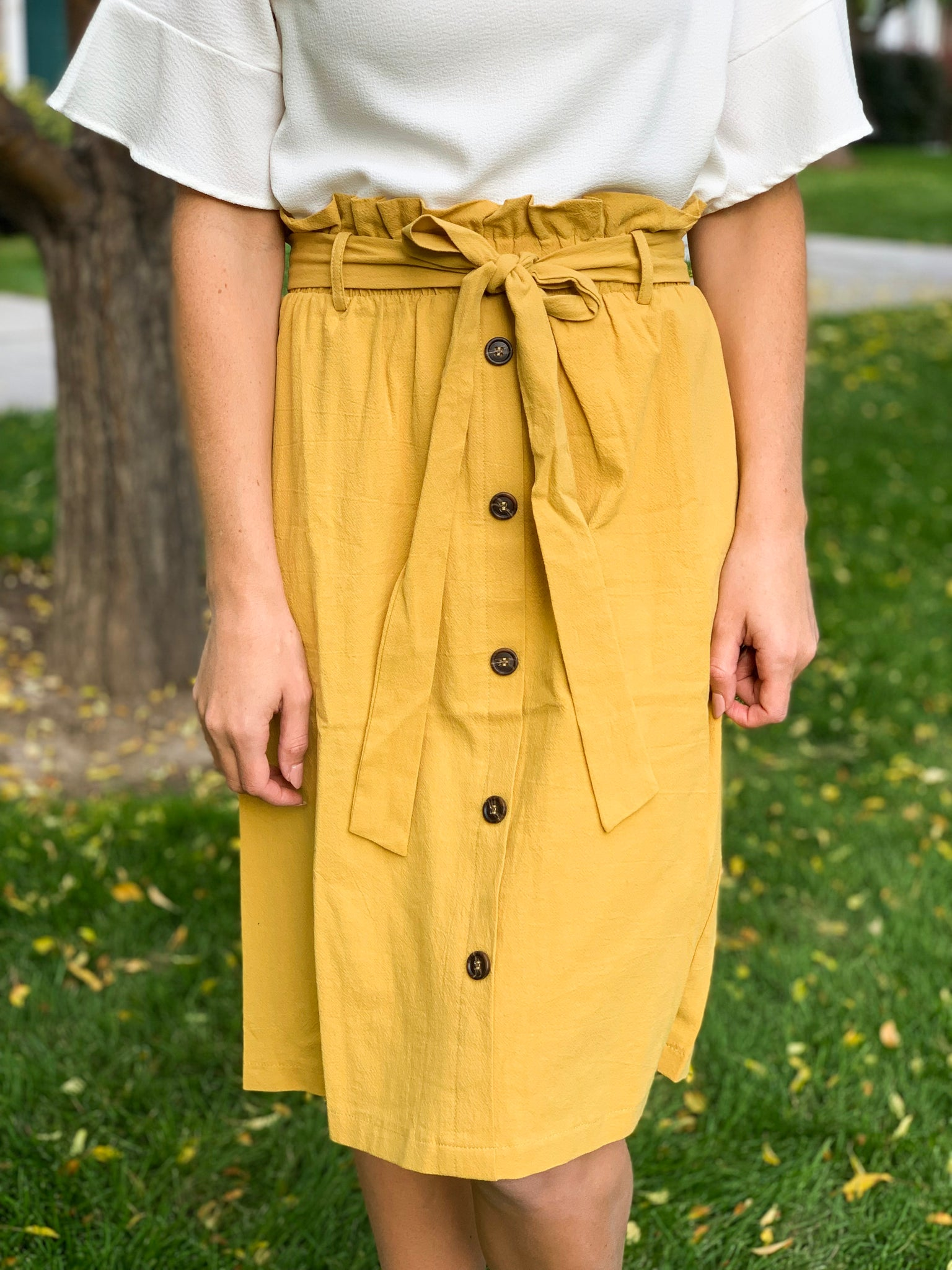 Tie Pencil Skirt in Mustard