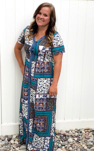 Boho Maxi Dress in Teal