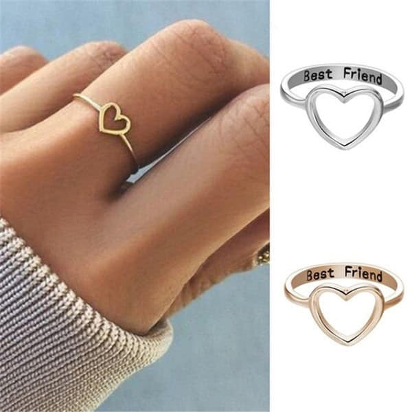 Best friend heart rings