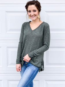 Heather olive v-neck top with side tie