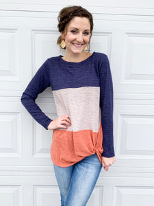 Side twist knot top in rust