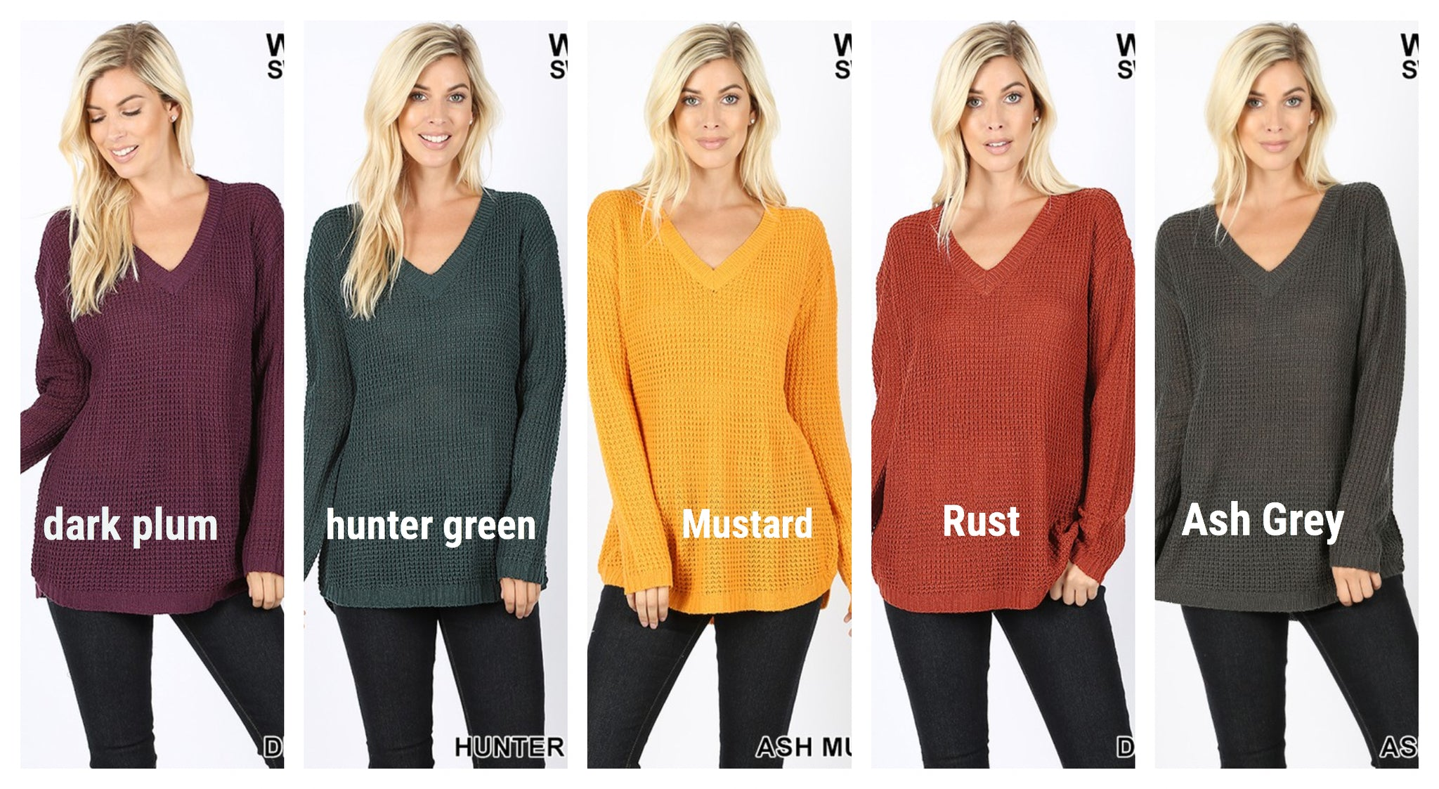 Waffle V-neck Sweater 6 colors