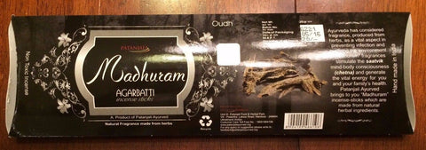 Madhuram Incense Sticks - 25 Gram Pack by Patanjali Ayurved - Free USA Shipping