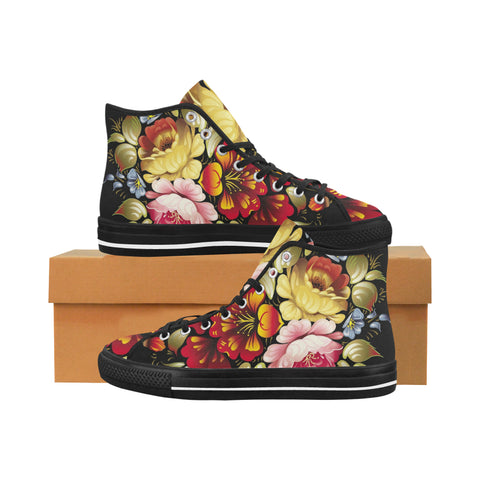 "Flowers ""black"" Vancouver H Women's Canvas Shoes (1013-1)"
