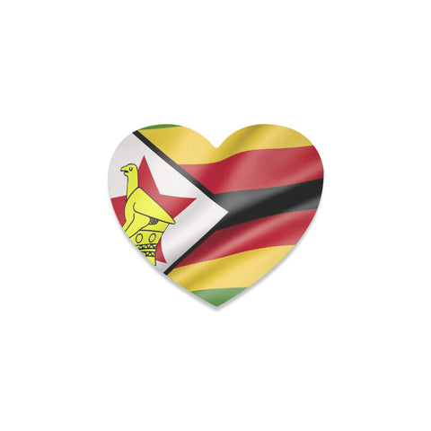 Zimbabwe Flag Heart Coaster