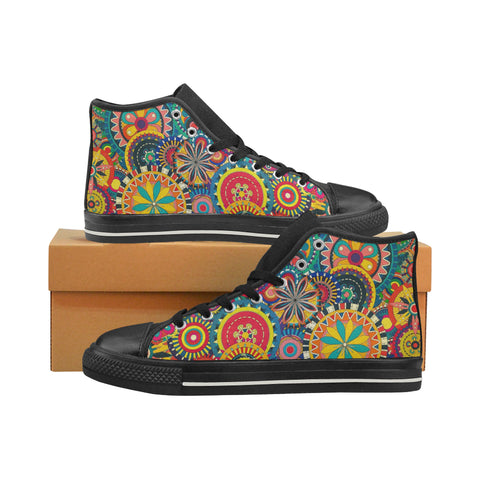 Pattern Men's Classic High Top Canvas Shoes (Model 017)
