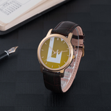 Iconic LaMonki 30 Meters Waterproof Quartz Fashion Watch With Brown Genuine Leather Band