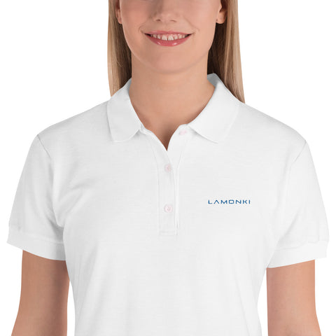 Blue LaMonki Embroidered Women's Polo Shirt