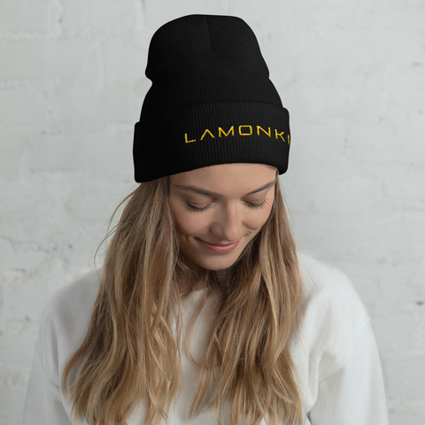 Yellow LaMonki Cuffed Beanie
