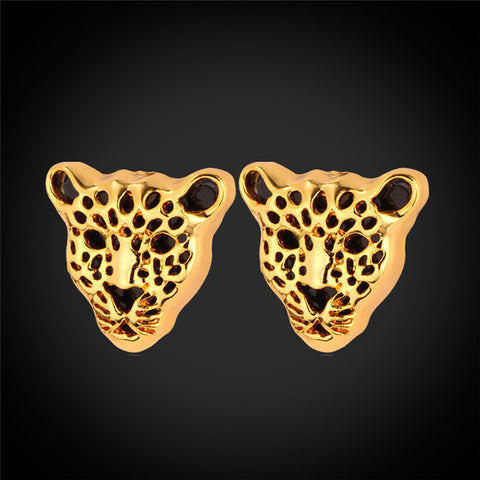U7 African Jewelry Animal Earrings Fashion Jewellery Gold/Silver Color Leopard Head Women Stub Earrings E731