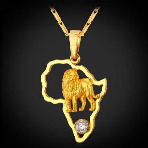 U7 Lion Pendant Necklace for Men Hollow Crystal Gold Color African Jewelry Women African Map Necklaces P783