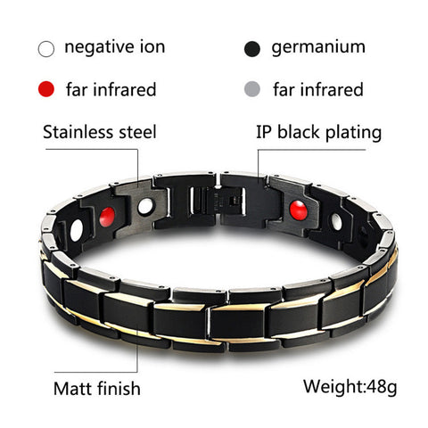 Health Energy Bracelet Bangle Men Stainless Steel Magnetic Gold Plated Jewelry