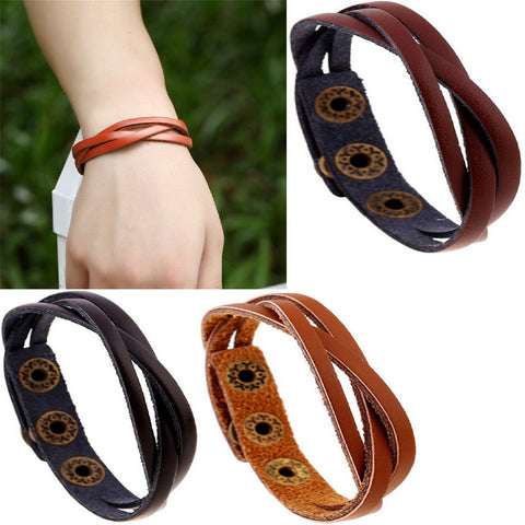 Leather Wrap Braided Wristband Cuff Punk