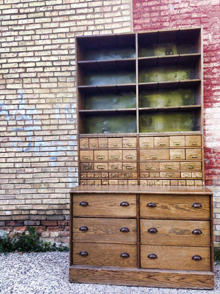 Antique Bike Shop Cabinet from Chicago | Carver Junk Company | Primitive Wood Cabinet with Drawers and Metal Shelves