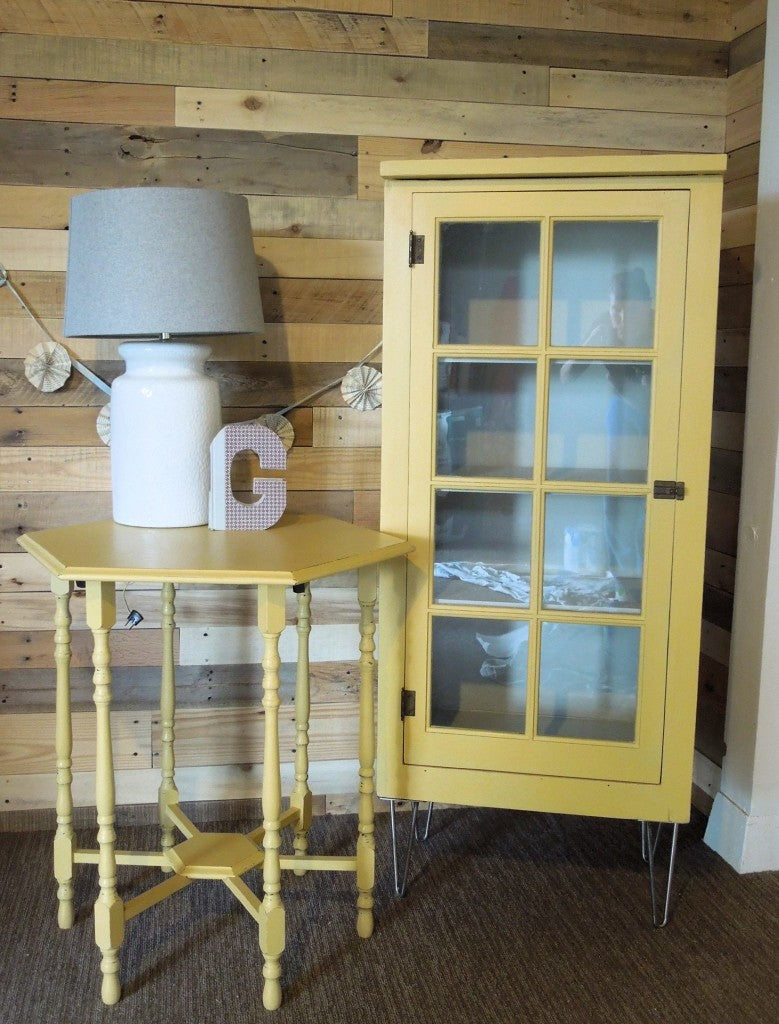 Antique Cabinet with Modern hair pin legs and side table, Painted in Miss Mustard Seed's Milk Paint color Mustard Seed Yellow | Carver Junk Company | Cotton Seed Designs