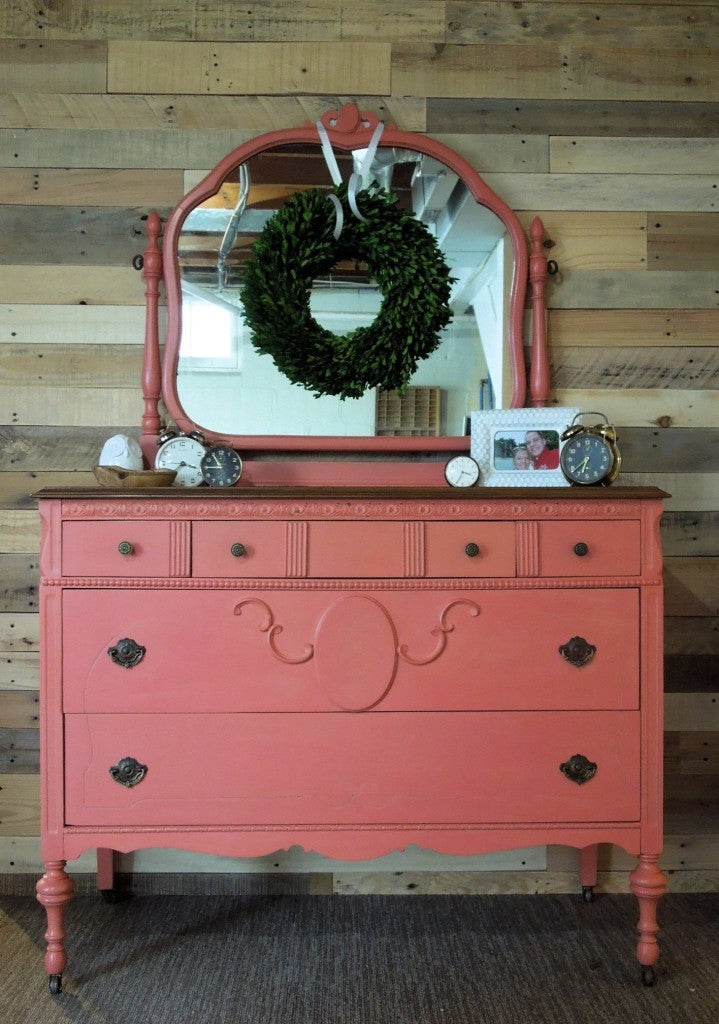 Antique Dresser and Mirror painted in Miss Mustard Seed's Milk Paint Apron Strings (discontinued) Coral color by Cotton Seed Designs for Carver Junk Company
