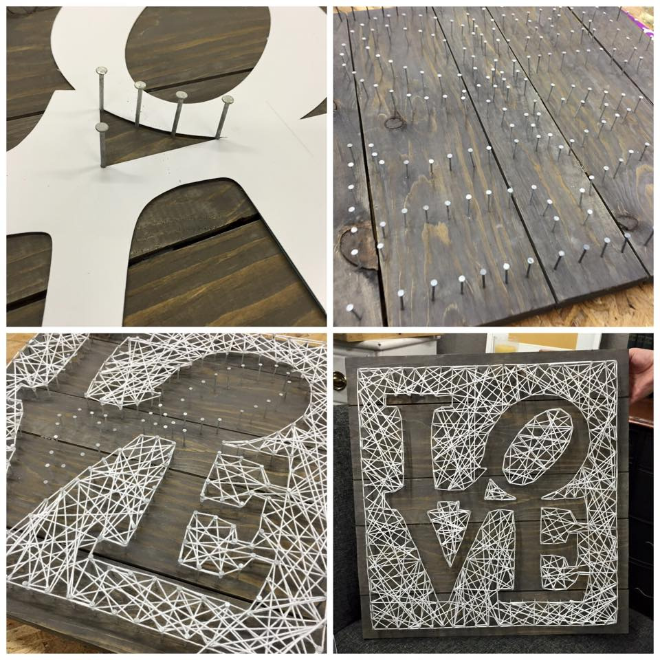 MakeMN String Art Workshop | LOVE sign | Carver Junk Company | Workshop led by The Vintage Studio
