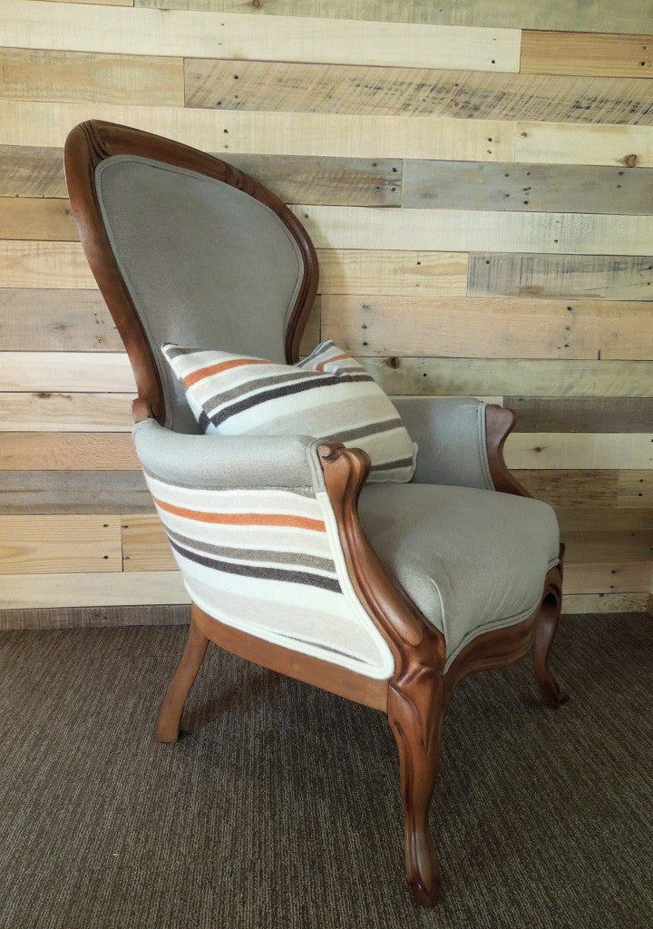 Antique Reupholstered Chair in linen and a vintage wool blanket in varied stripes | Cotton Seed Designs for Carver Junk Company