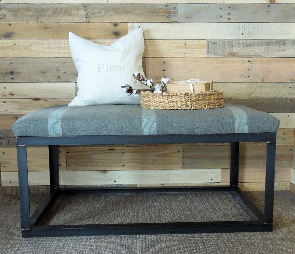 Custom-Built, Handcrafted Steel Frame Ottoman Coffee Table, upholstered in an antique, WWII Australian Army Blanket | Cotton Seed Designs for Carver Junk Company