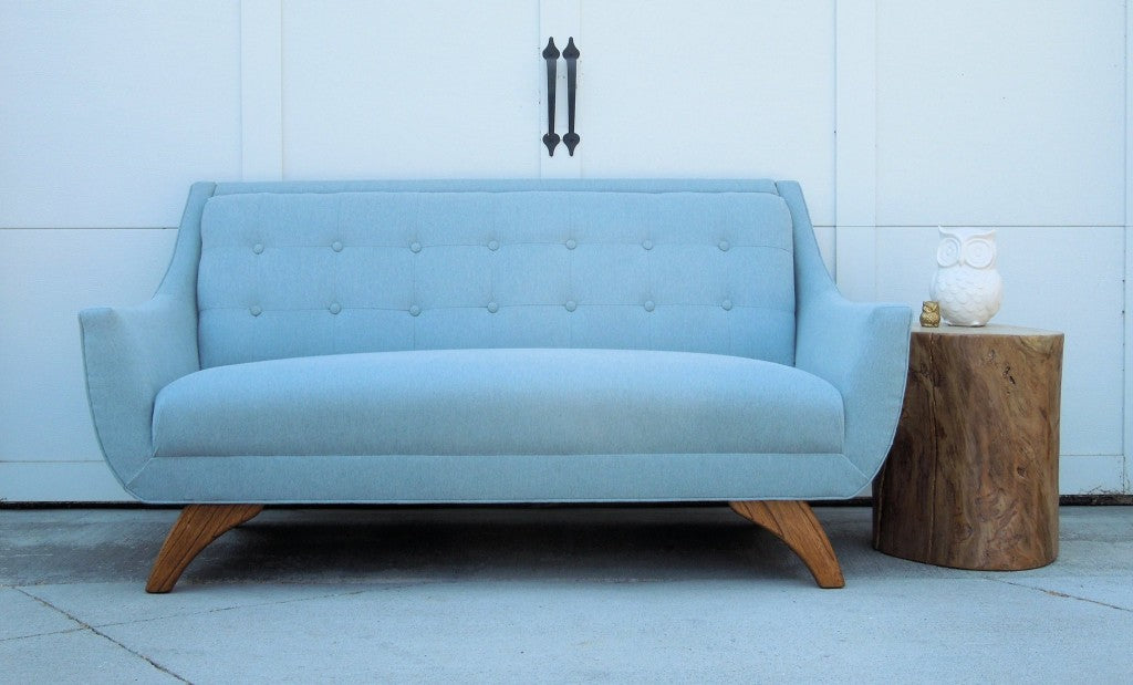 Custom Re-Upholstered Vintage Sofa in a sweet light blue Fabric with Button Tufting | Cotton Seed Design for Carver Junk Company | Minneapolis Upholstered Furniture & Home Decor