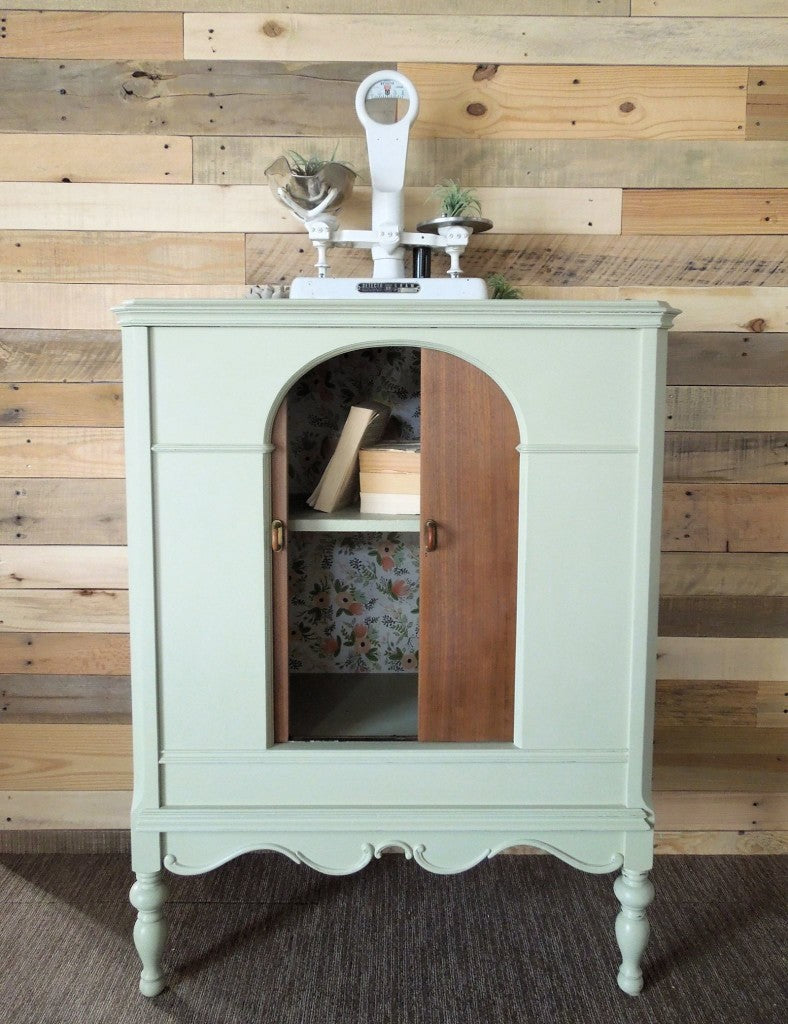 Repurposed Radio Cabinet Painted in Miss Mustard Seed's Milk Paint Eulalie's Sky, with refinished doors and new hardware | Antique Bar | Storage Cabinet | Cotton Seed Designs for Carver Junk Company